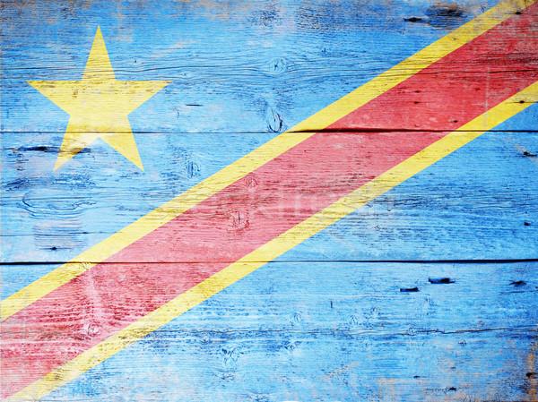 Zászló demokratikus köztársaság Kongó festett koszos Stock fotó © grafvision