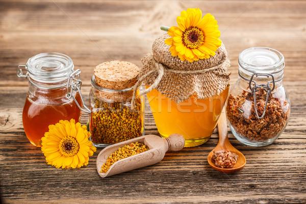 Honing stilleven stuifmeel propolis lepel bloem Stockfoto © grafvision