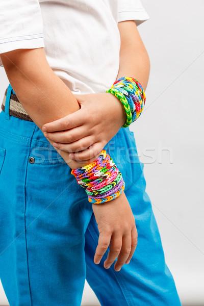 Fiú visel színes zenekar gumi gyermek Stock fotó © grafvision
