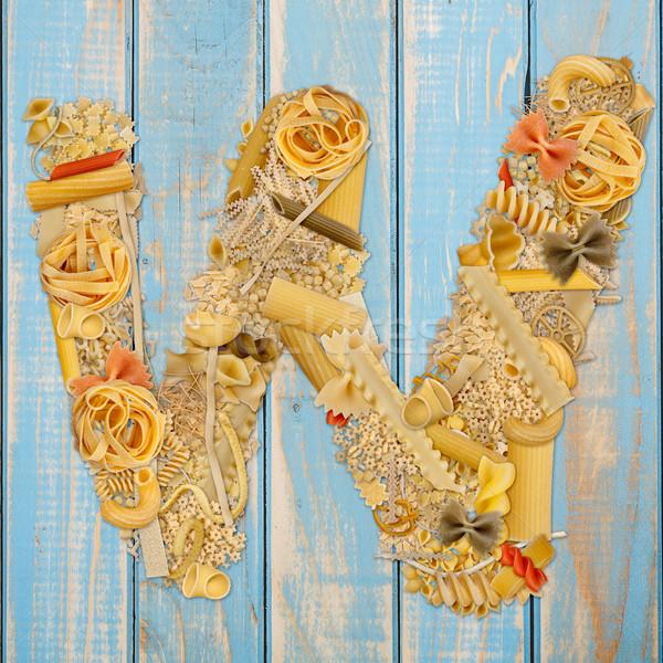 List w makaronu niebieski żywności tle Zdjęcia stock © grafvision