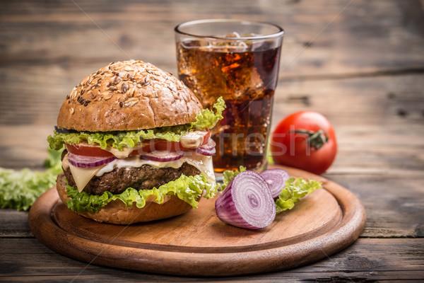 Hamburger klasik büyük ev yapımı sığır eti gıda Stok fotoğraf © grafvision