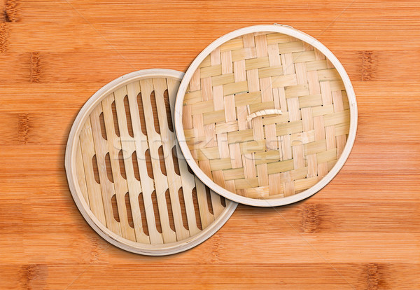 Bambusa parowiec zestaw chińczyk sprzęt kuchenny koszyka Zdjęcia stock © grafvision