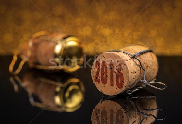 Champagner Kork neue Jahre 2016 Hintergrund Stock foto © grafvision