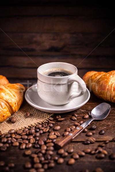 Kávé croissant kávé fából készült étel háttér Stock fotó © grafvision