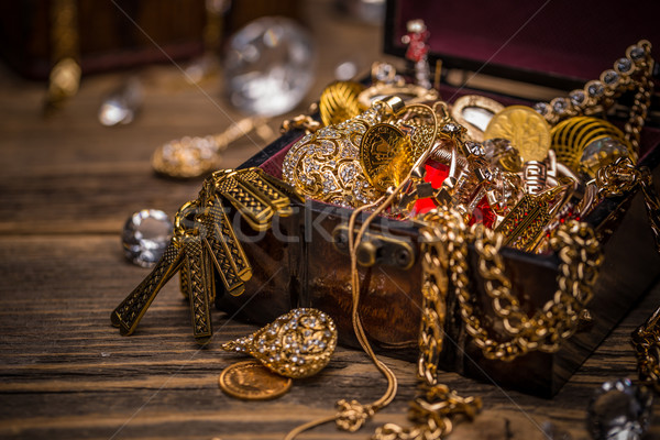 Wooden jewellery box still life on vintage wooden background Stock photo © grafvision