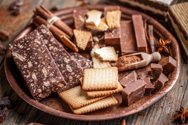 édes keksz csokoládé szalámi hozzávalók torta Stock fotó © grafvision