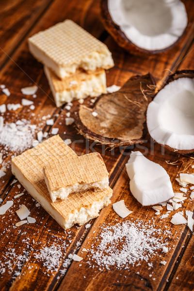 вафля сэндвич Печенье домашний белый шоколадом Сток-фото © grafvision