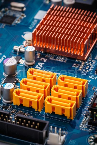 Stock fotó: Citromsárga · színes · tábla · integrált · áramkör · tech