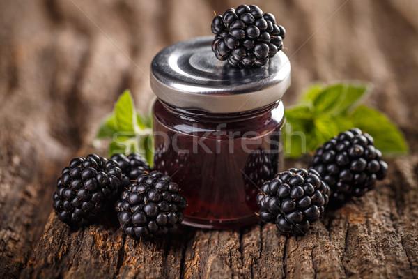 вкусный BlackBerry Jam свежие Ягоды деревянный стол Сток-фото © grafvision