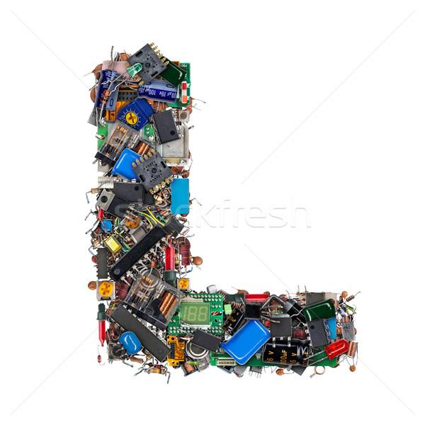 Letra l eletrônico componentes isolado branco tecnologia Foto stock © grafvision