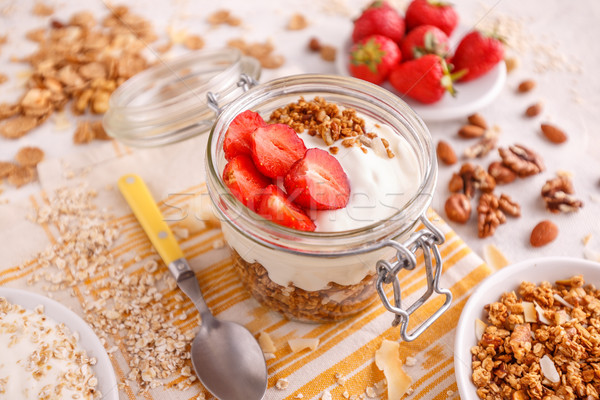 Homemade granola with yogurt Stock photo © grafvision