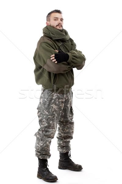 Terrorist permanente geïsoleerd witte masker asian Stockfoto © grafvision