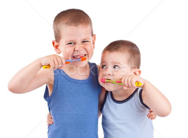 Fiúk fogmosás fiatal fogkefe izolált fehér Stock fotó © grafvision