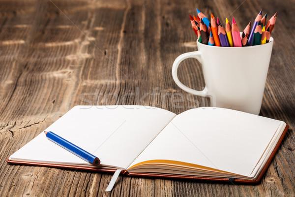 Renkli kalemler beyaz fincan defter okul Stok fotoğraf © grafvision