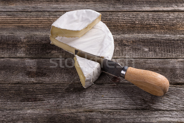 Camembert kaas mes houten voedsel hout Stockfoto © grafvision