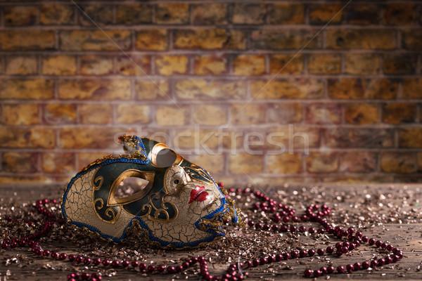 Carnaval masker parel baksteen mode viering Stockfoto © grafvision