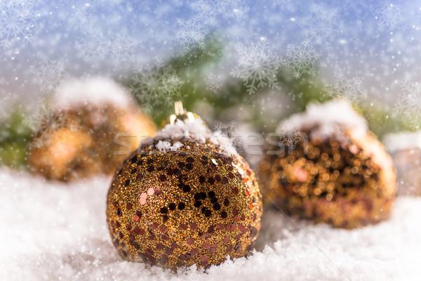 Noel top yaldızlı kar arka plan kutlama Stok fotoğraf © grafvision