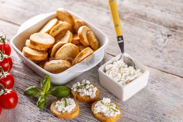 Túró teljeskiőrlésű búza tekercsek reggeli étel sajt Stock fotó © grafvision