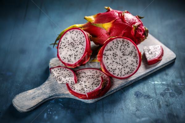 Dragão fruto fatia azul comida rosa Foto stock © grafvision