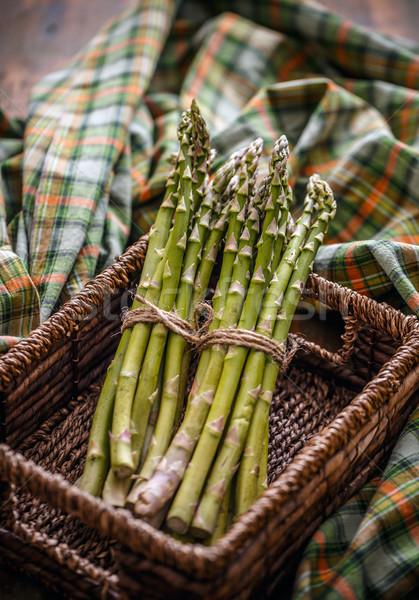 свежие сырой спаржа плетеный корзины Сток-фото © grafvision