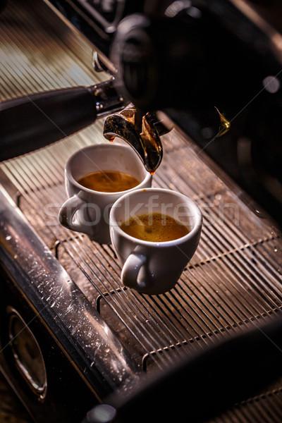 Koffiezetapparaat koffie mondstuk automatisch werk Stockfoto © grafvision