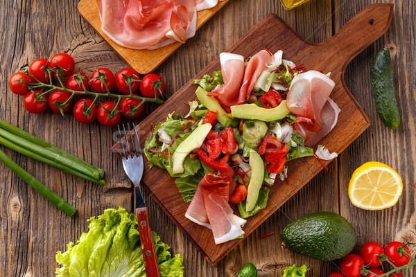 緑 サラダ プロシュート 務め 木製 まな板 ストックフォト © grafvision
