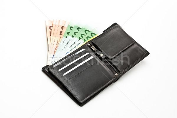 Euro nero pelle portafoglio studio Foto d'archivio © grafvision