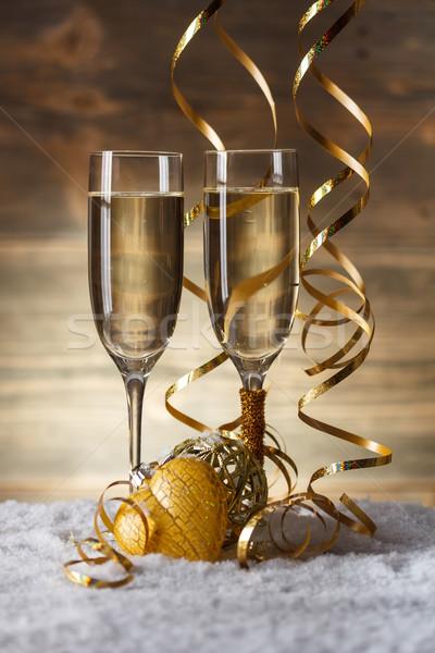 Stok fotoğraf: şampanya · gözlük · Noel · kar · içmek · top