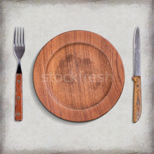 Fából készült tányér üres kés villa fa Stock fotó © grafvision