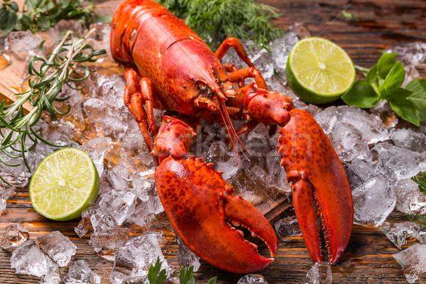 ıstakoz deniz ürünleri buz kireç gıda kırmızı Stok fotoğraf © grafvision