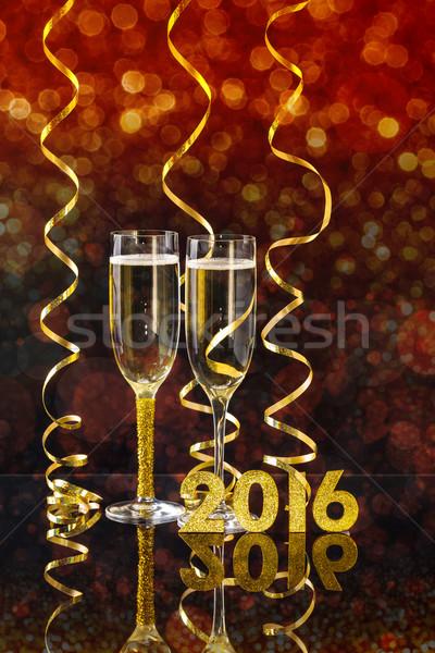 Yılbaşı zarif şampanya gözlük spiral ince Stok fotoğraf © grafvision