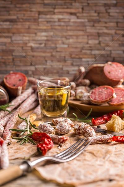 Szalámi csendélet különböző rusztikus stílus étel Stock fotó © grafvision