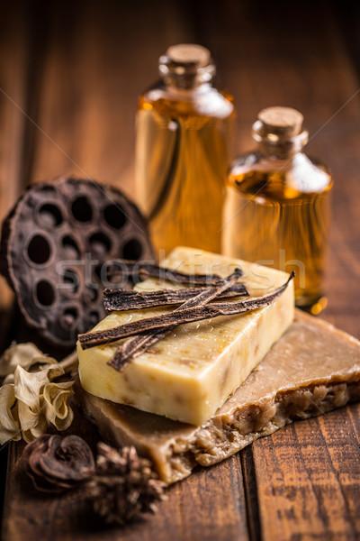 ручной работы мыло ваниль деревенский древесины Сток-фото © grafvision