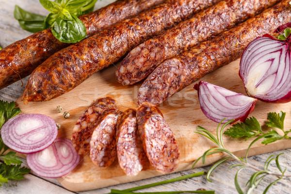 スライス サラミ ソーセージ 木製 まな板 肉 ストックフォト © grafvision