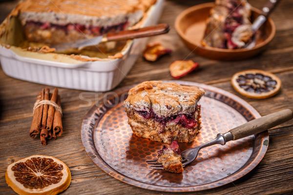 パン プリン 朝食 リンゴ ブルーベリー ジャム ストックフォト © grafvision