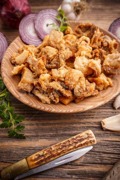 Tuzlu domuz eti plaka rustik ahşap gıda Stok fotoğraf © grafvision