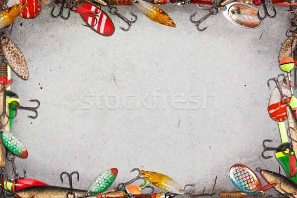 Balık tutma çerçeve spor arka plan sanayi siyah Stok fotoğraf © grafvision