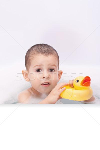 Stockfoto: Jongen · spelen · water · speelgoed · gezicht · badkamer
