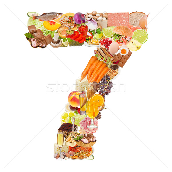 Number 7 made of food Stock photo © grafvision