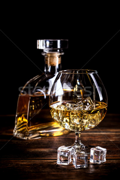 Vintage cognac still life table en bois bois bar Photo stock © grafvision