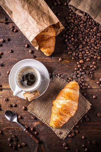 Croissant kávé felső kilátás étel csésze Stock fotó © grafvision