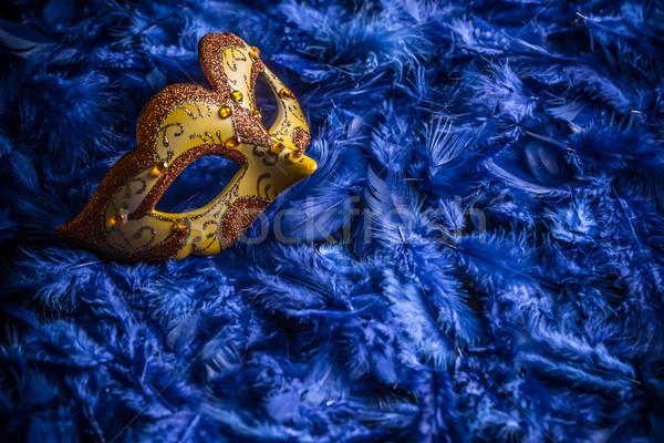 ベニスの カーニバル マスク 青 羽毛 背景 ストックフォト © grafvision