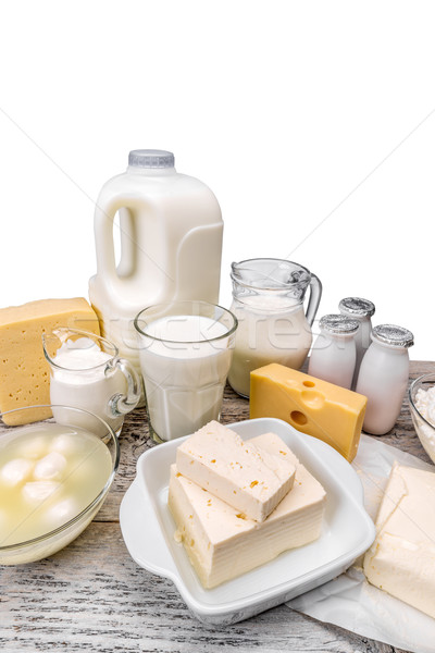 Sortiment Milchprodukte Holz Oberfläche Glas Gruppe Stock foto © grafvision