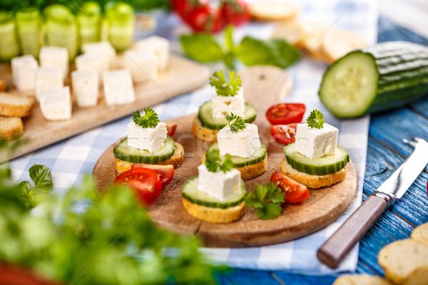 Bruschetta with feta cheese  Stock photo © grafvision