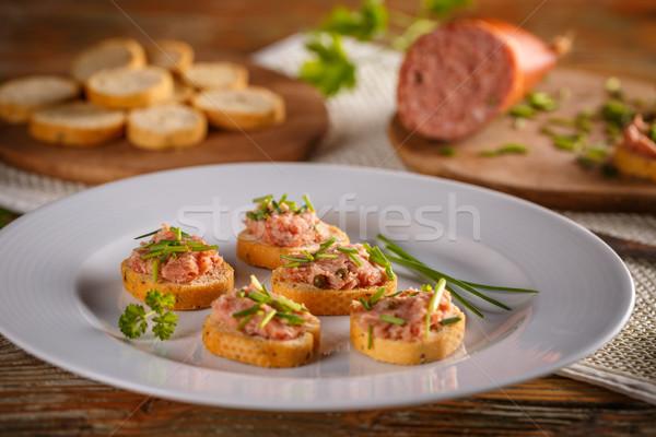 薫製 ソーセージ ベーコン 豚肉 パン ストックフォト © grafvision