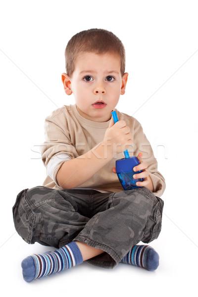 Mały chłopca farbują temperówka odizolowany biały Zdjęcia stock © grafvision