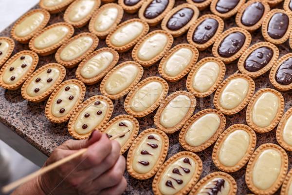 Woman hand decorating mini tarts Stock photo © grafvision