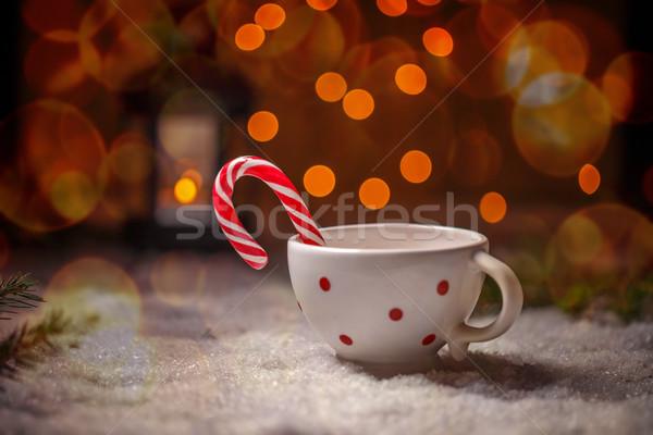 Gepunktete China Tasse candy Zuckerrohr Weihnachten Stock foto © grafvision
