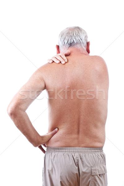 Uomo dolore al collo senior isolato bianco mano Foto d'archivio © grafvision