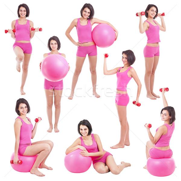 Jonge vrouw geschikt bal collage meisje vrouwen Stockfoto © grafvision